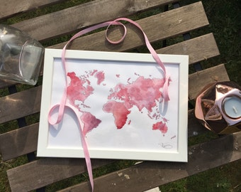 World map painting pink Watercolour + frame