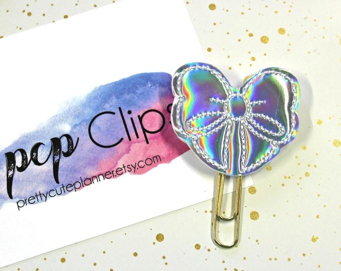 Planner Clip - Planner Bookmark - Silver Holographic Bow Planner Planner clip - Bow planner clip- Felt Planner Clip - Feltie clip - Holo Bow