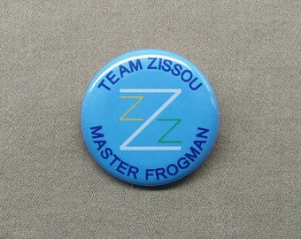 "Team Zissou Master Frogman 1.25"" button Life Aquatic with Steve Zissou Wes Anderson Bill Murray"