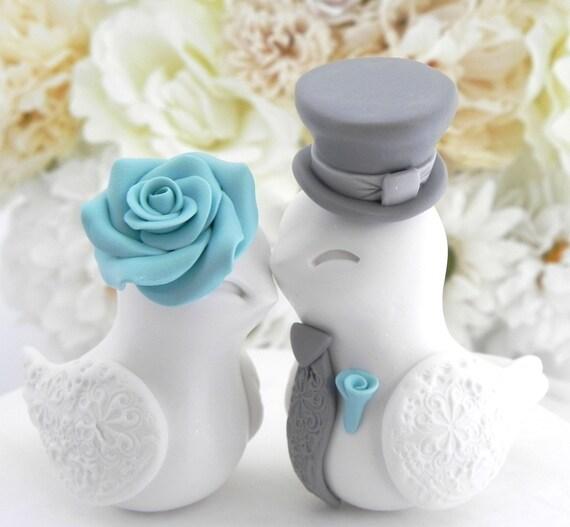 Wedding Cake Topper, Love Birds, White Aqua and Grey, Bride and Groom Keepsake