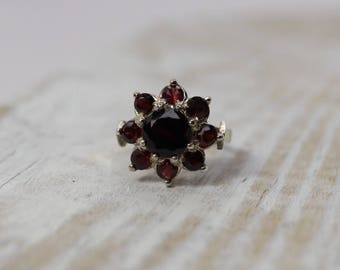 Vintage Garnet Cluster Ring, size 6.25, sterling silver, January birthstone, Fine estate jewelry, gifts for her, 2nd anniversary gift