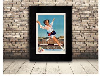 Ice Skater Digital Poster. Vintage Image of Winter Sport of Ice Skating in a Cute Town. High Resolution Wall Art or Home Decor for Skaters.