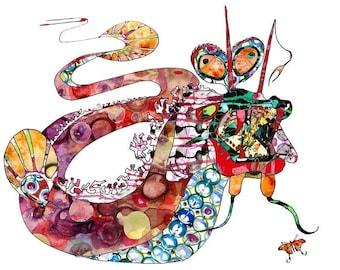 Leviathan Art Print Fantasy 13 x 19, 11 x 14, 8.5 x 11, 8 x 10, 5 x 7