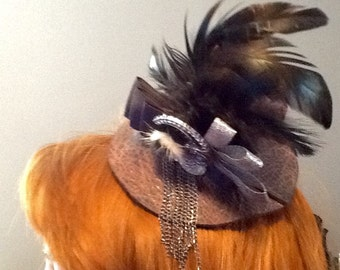 Steampunk Mini Top Hat with Feathers Cosplay Millinery