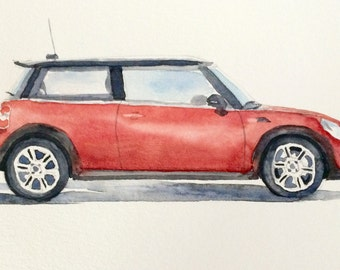 Mini Cooper, Mini Cooper painting, car painting, watercolor car, British car