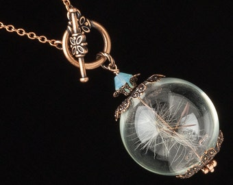 Dandelion Necklace, terrarium necklace, dandelion seeds, glass orb necklace, wish necklace, copper rose gold pendant, blue opal crystal Gift