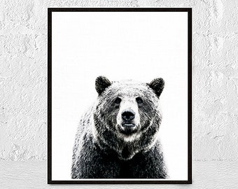 Bear Print, Woodlands Nursery Animal, Printable Poster, Nursery Decor Wall Art, Kids and Babies Room, Digital Download