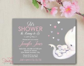 Elephant Baby Shower Invitation - Baby Shower Invitation - Elephant Invite - Elephant Baby Shower