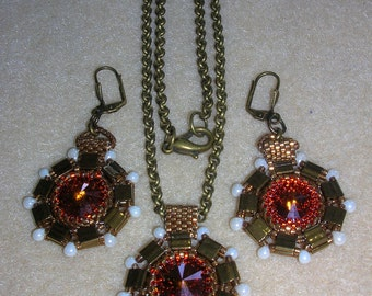 Tutorial - Glory-  Tila and a Rivoly Cabochon NECKLACE AND EARRINGS