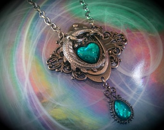 Large Heart of the Dragon Blue Teal Glass Opal, Opalite Edwardian  Filigree Necklace
