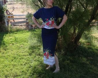 Vintage Dress Set. Cotton. Summer. Bolero Top. Skirt and Shirt. Size 6. Polkadots. Women's Skirt Set. Blue. Flowers. Shabby Chic.
