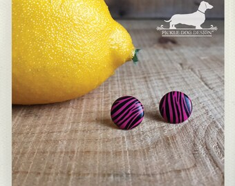 DOLLAR DEAL! Pink Zebra. Post Earrings -- (Hot Pink, Black, Simple, Pink and Black Studs, Stripes, Vintage-Style, Cute Gift For Her Under 5)