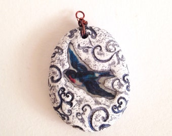 Blue Bird Polymer Clay 2 in 1 Pendant
