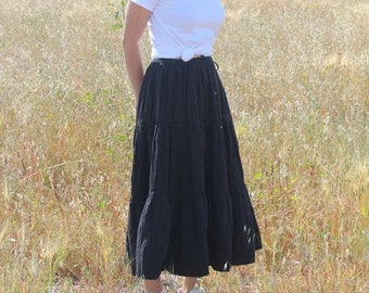 Vintage Black Indian Maxi Skirt