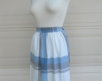 70s plaid skirt . blue cream high waist skirt . New York Clothing Co.. 25 waist
