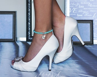 Something Blue Pearl Wedding Anklet for Bride