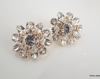 swarovski crystal bridal earrings Rose Gold earrings Stud Earrings Wedding earrings Rhinestone Earrings statement earrings crystal SAVANNAH