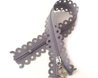 LIGHT grey / Zip lace star 25cm