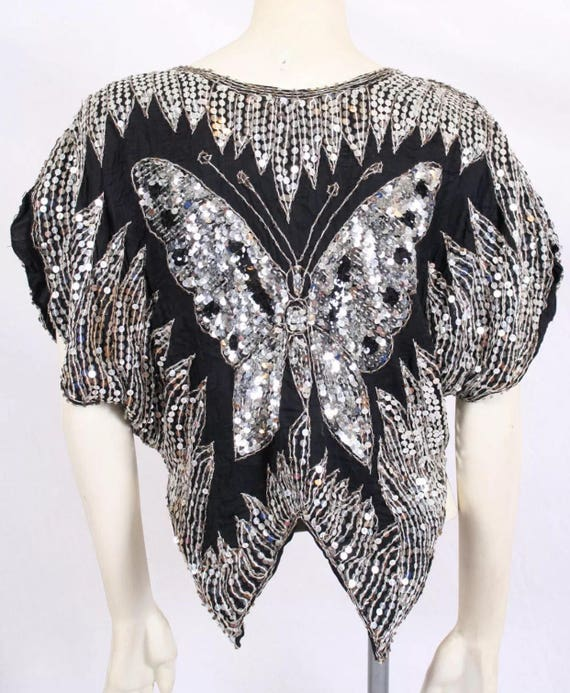 Vintage Sequined Butterfly Shirt Top Disco Party Bat Wing Tunic size s/m