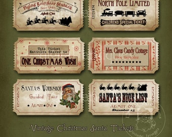 Vintage Christmas Tickets Sepia Printable Digital Download