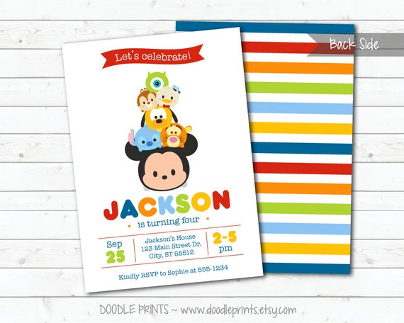 Tsum Tsum Mickey Mouse Birthday Party Invitation Disney Tsum