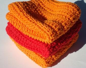 Three Cotton Washcloths, Red and Orange Dishcloths, Crochet, Crocheted, Wash Cloths, Dish Cloths - Fall, Autumn Housewarming Gift
