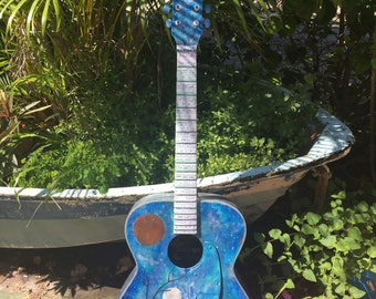"""Upcycled,Artisan crafted  """" Galaxy Guitar"""" Home decor * ,display , music,"""