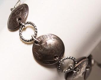 United States Dimes Handmade Bracelet, Dime Bracelet, Coin Bracelet, Coin Jewelry, Dime-In-Bracelet, 10 Cent Bracelet, Roosevelt Bracelet