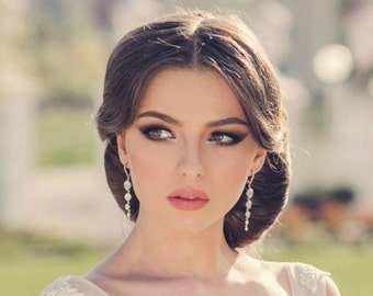 Crystal chandelier earrings, long bridal earrings, bridal jewelry, statement bridal earrings