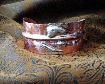 Copper Cuff Bracelet, Sterling Silver & Copper Cuff, Wide Cuff Bracelet, Artisan Cuff Bracelet, Artisan Cuff, Handmade, Mothers Day, Gift