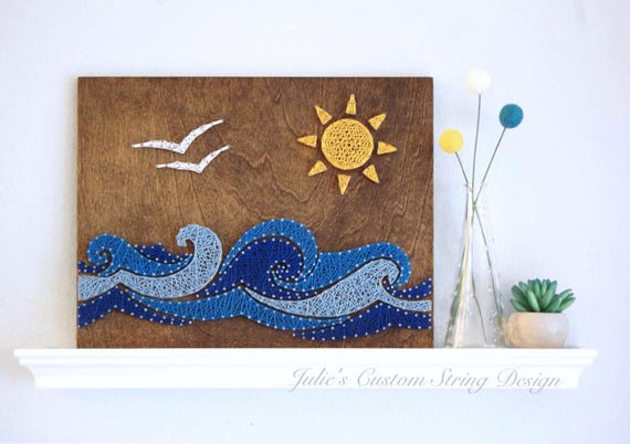 Made To Order Ocean Waves Sun Birds String Art Water
