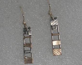 "Mixed  Metals Ladder Earrings 1.5"" long"