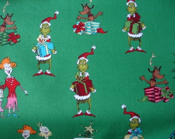 How the Grinch Stole Christmas along withthe Who Family of Whoville by Dr. Seuss Print Fabric  #15184 2 yd NEW