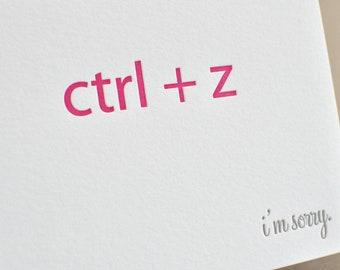 I'm Sorry 'CTR + Z' Nerd Letterpress Card & Envelope