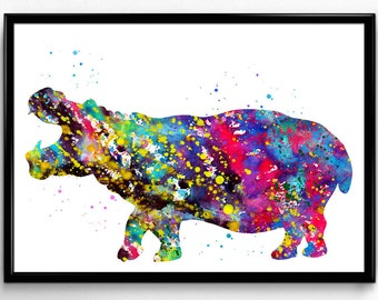Hippopotamus, Hippo, African Animal, Nature, Room Decor, Colorful Watercolor, Poster, gift, Printable Wall Art (512)