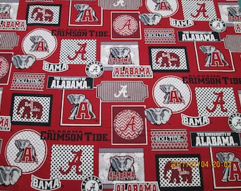 "University  of  ALABAMA    "" TIDE  "" New  Style - 1/2 YARD  Piece - 100% Cotton Brand  New Design logos"