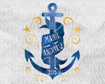 By The Sea Custom Watercolor Wedding Logo - Wedding Crest - Wedding Monogram - Nautical Wedding - Anchor Wedding