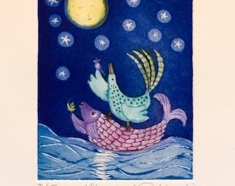 etching, Moon River, nursery art print, baby wall art, animal wall art, moon print, ocean print, dark blue wall art, fish wall print, bird