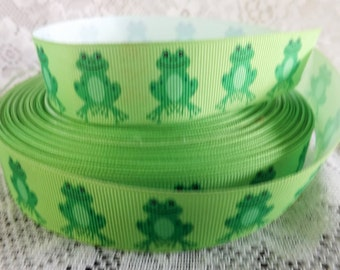 Frog Ribbon Grosgrain Green Frog Ribbon 1 Inch Grosgrain ribbon