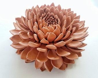 Unglazed Terra Cotta Chrysanthemum