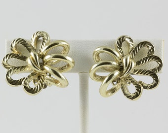 Coro clip earrings Gold Tone Multi loop bow shaped, Left and right earring, Star burst looking Excellent condition
