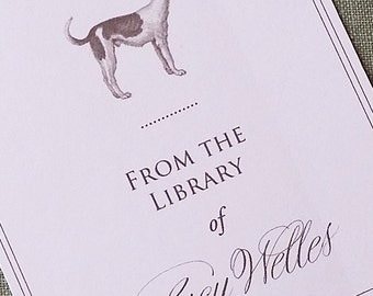 Bookplate Elegant Dog Personalized in Sepia print on off white, set of 24.