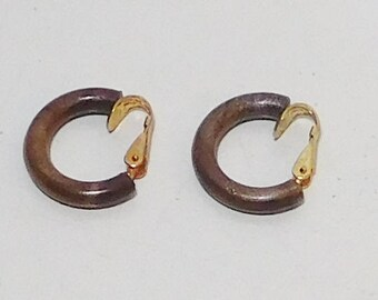 Small Brown Clip On Half Hoop Earrings, Lightweight, Plastic, Signed Hong Kong, 1/2 Circle, Vintage Jewelry
