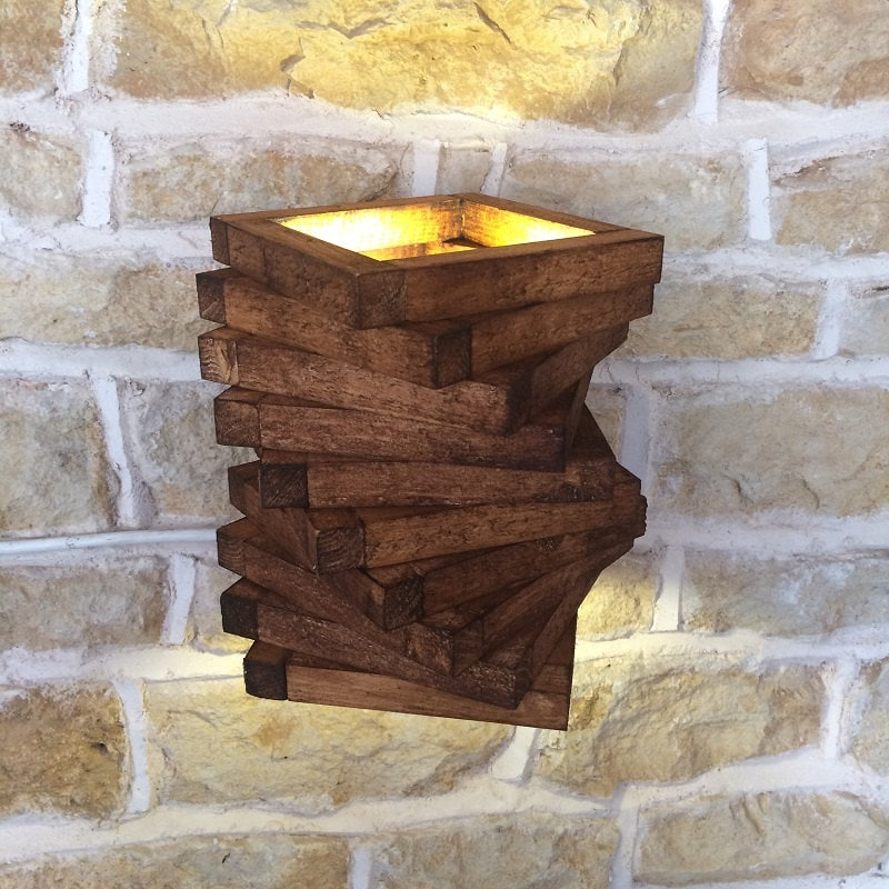 Abstract rustic handmade wood wall light spiral up down wall zoom mozeypictures Images