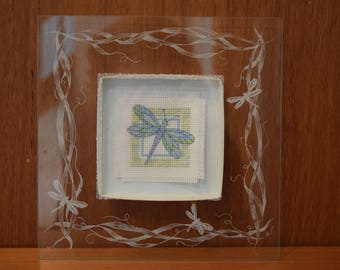 Completed Cross Stitch Shadowbox:  Dainty Dragonfly