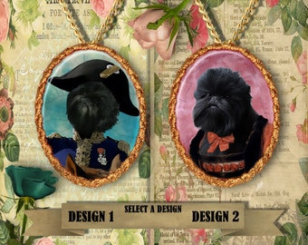 Affenpinscher Dog Jewelry historical dog costume Queen Napoleon Affenpinscher gift for her Custom Dog Pendant Portrait from Photo Porcelain