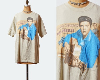Vintage 90s ELVIS PRESLEY Love Me Tender TShirt / 1990s Rock N Roll Band T Shirt Shirt Brown Blue Medium Large