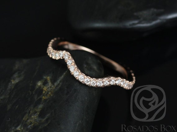 Rosados Box 14kt Rose Gold Matching Band to Kendra 10mm Diamond ALMOST Eternity Band