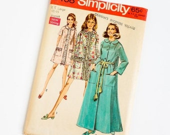 Shop SALE Vintage 1960s Womens Size 40 and 42 Robe in Two Lengths Simplicity Sewing Pattern 8458 FACTORY Folds / b46-48 w38-40.5
