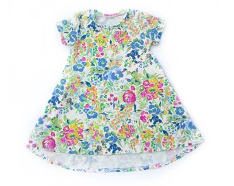 Florence Floral Short Sleeve Dress with high low hem for baby and toddler girls sizes newborn to 5/6T